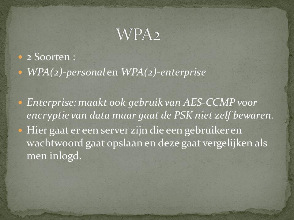 2 Soorten : WPA(2)-personal en WPA(2)-enterprise Enterprise: maakt ook gebruik van AES-CCMP voor encryptie van data maar gaat de PSK niet zelf bewaren.