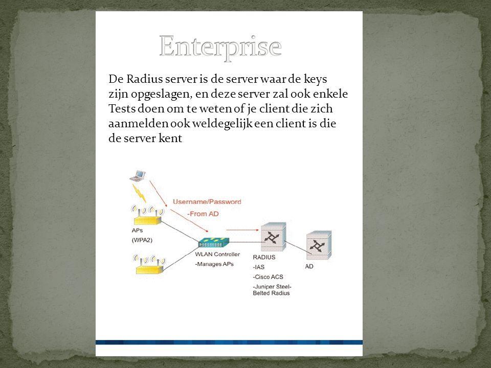 De Radius server is de server waar de keys zijn opgeslagen, en deze server zal ook enkele Tests doen om te weten of je client die zich aanmelden ook weldegelijk een client is die de server kent