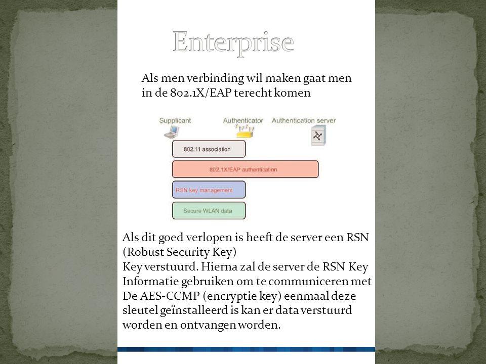 Als men verbinding wil maken gaat men in de 802.1X/EAP terecht komen Als dit goed verlopen is heeft de server een RSN (Robust Security Key) Key verstuurd.