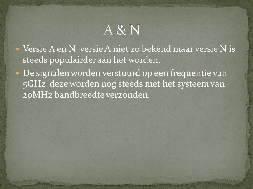 Versie A en N versie A niet zo bekend maar versie N is steeds populairder aan het worden. De signalen worden verstuurd op een frequentie van 5GHz deze