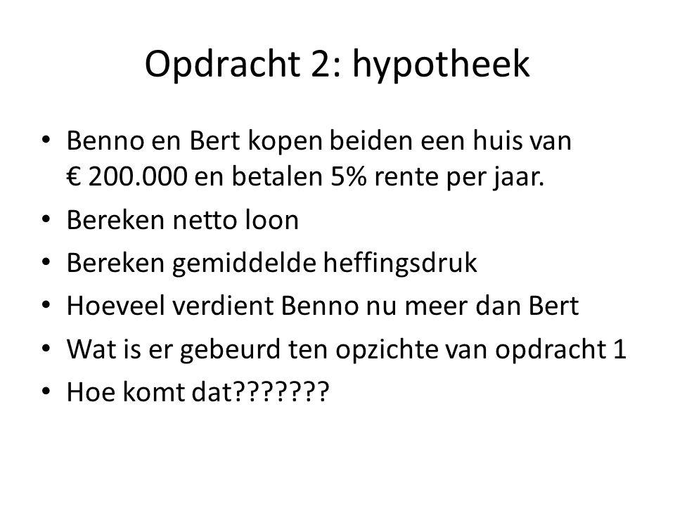 Opdracht 2: hypotheek Benno en Bert kopen beiden een huis van € 200.000 en betalen 5% rente per jaar. Bereken netto loon Bereken gemiddelde heffingsdr