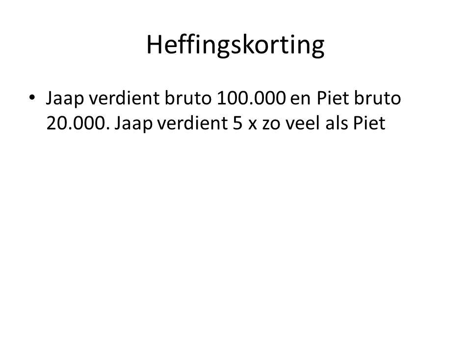 Heffingskorting Jaap verdient bruto 100.000 en Piet bruto 20.000. Jaap verdient 5 x zo veel als Piet