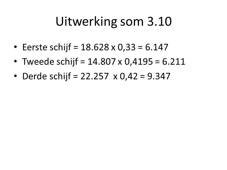 Uitwerking som 3.10 Eerste schijf = 18.628 x 0,33 = 6.147 Tweede schijf = 14.807 x 0,4195 = 6.211 Derde schijf = 22.257 x 0,42 = 9.347