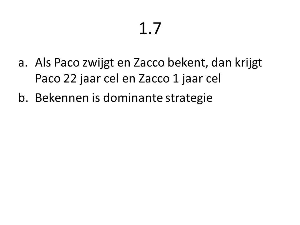 1.7 a.Als Paco zwijgt en Zacco bekent, dan krijgt Paco 22 jaar cel en Zacco 1 jaar cel b.Bekennen is dominante strategie