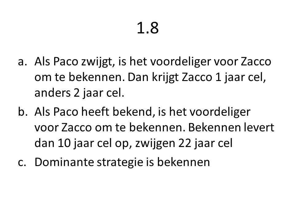 1.8 a.Als Paco zwijgt, is het voordeliger voor Zacco om te bekennen. Dan krijgt Zacco 1 jaar cel, anders 2 jaar cel. b.Als Paco heeft bekend, is het v