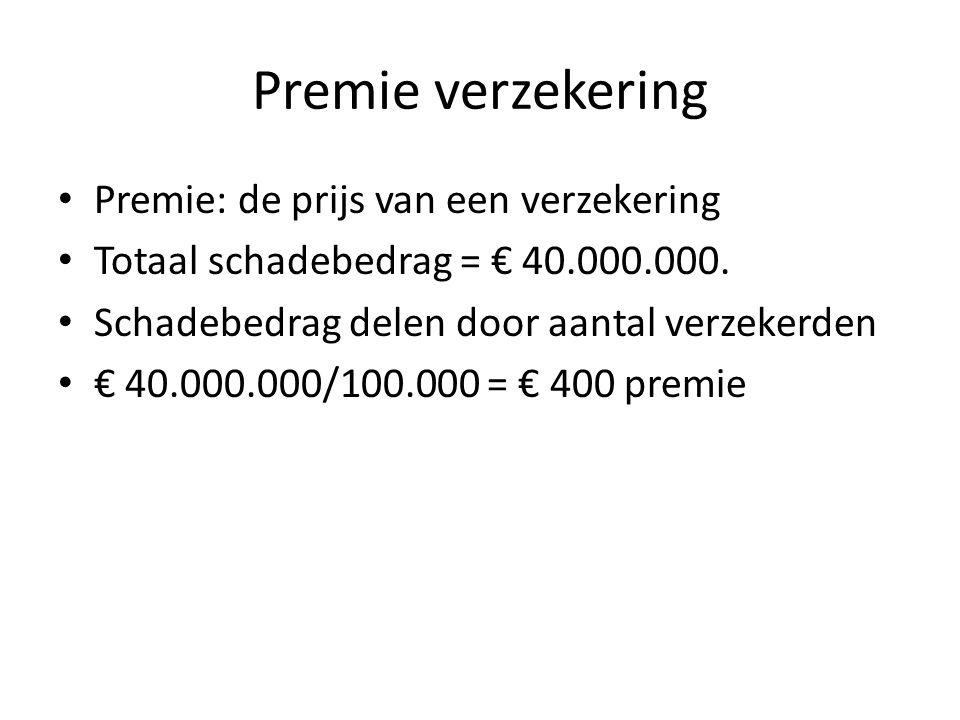 Premie verzekering Premie: de prijs van een verzekering Totaal schadebedrag = € 40.000.000. Schadebedrag delen door aantal verzekerden € 40.000.000/10