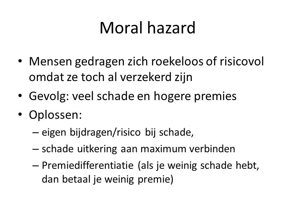 Moral hazard Mensen gedragen zich roekeloos of risicovol omdat ze toch al verzekerd zijn Gevolg: veel schade en hogere premies Oplossen: – eigen bijdr