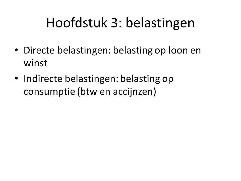 Hoofdstuk 3: belastingen Directe belastingen: belasting op loon en winst Indirecte belastingen: belasting op consumptie (btw en accijnzen)