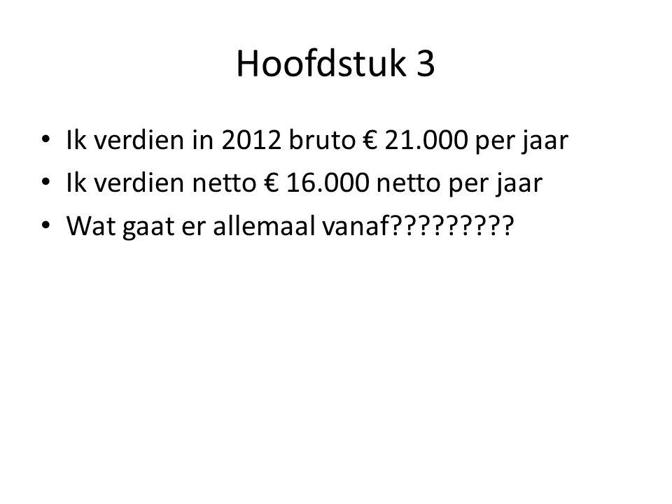 Hoofdstuk 3 Ik verdien in 2012 bruto € 21.000 per jaar Ik verdien netto € 16.000 netto per jaar Wat gaat er allemaal vanaf?????????