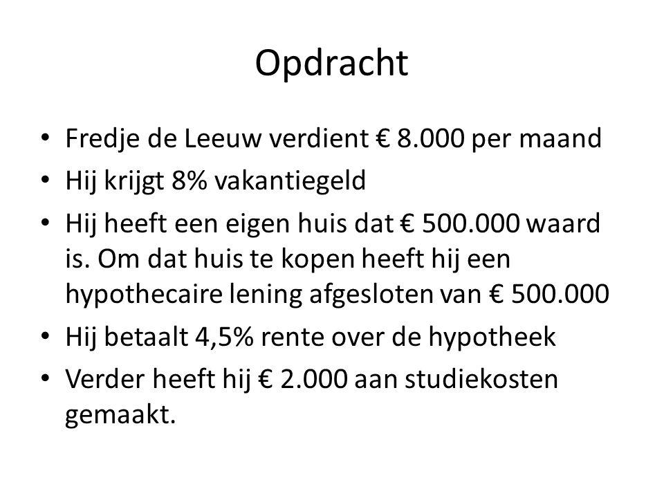 Opdracht Fredje de Leeuw verdient € 8.000 per maand Hij krijgt 8% vakantiegeld Hij heeft een eigen huis dat € 500.000 waard is. Om dat huis te kopen h