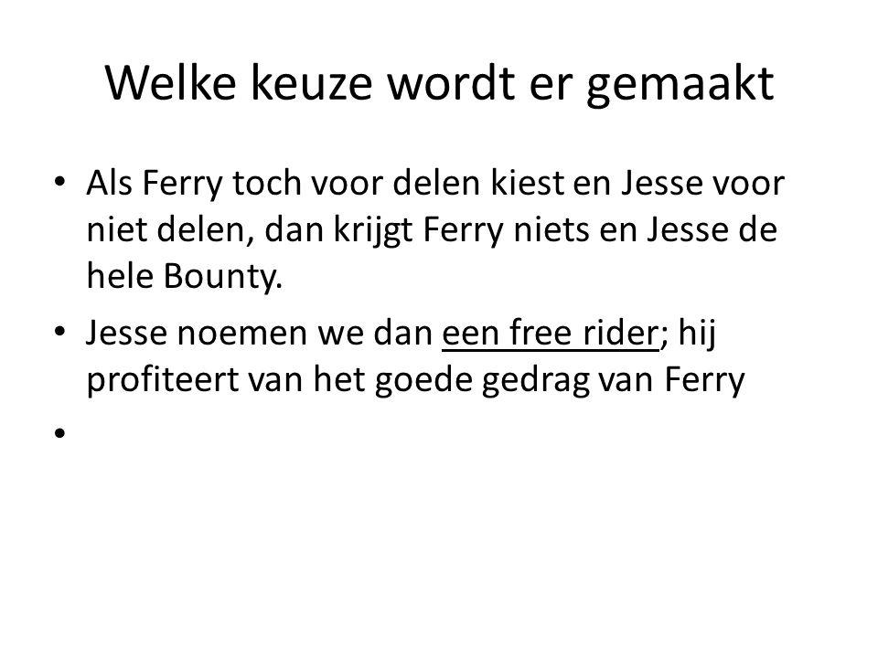 Welke keuze wordt er gemaakt Als Ferry toch voor delen kiest en Jesse voor niet delen, dan krijgt Ferry niets en Jesse de hele Bounty. Jesse noemen we