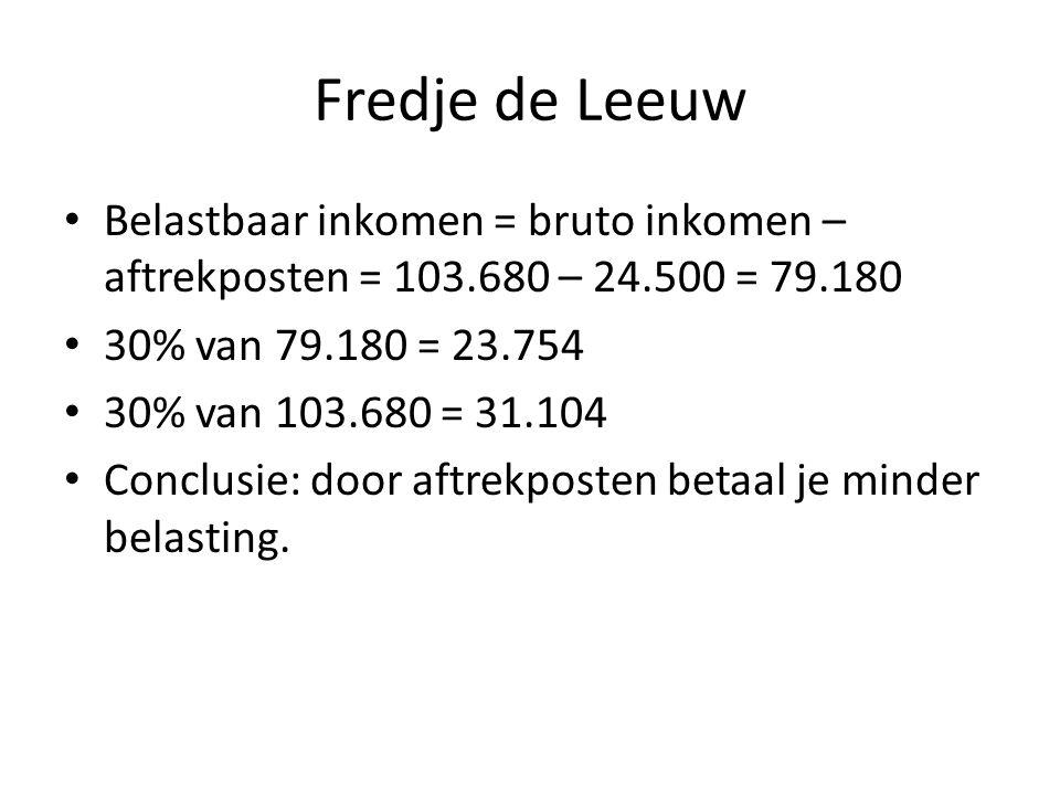 Fredje de Leeuw Belastbaar inkomen = bruto inkomen – aftrekposten = 103.680 – 24.500 = 79.180 30% van 79.180 = 23.754 30% van 103.680 = 31.104 Conclus
