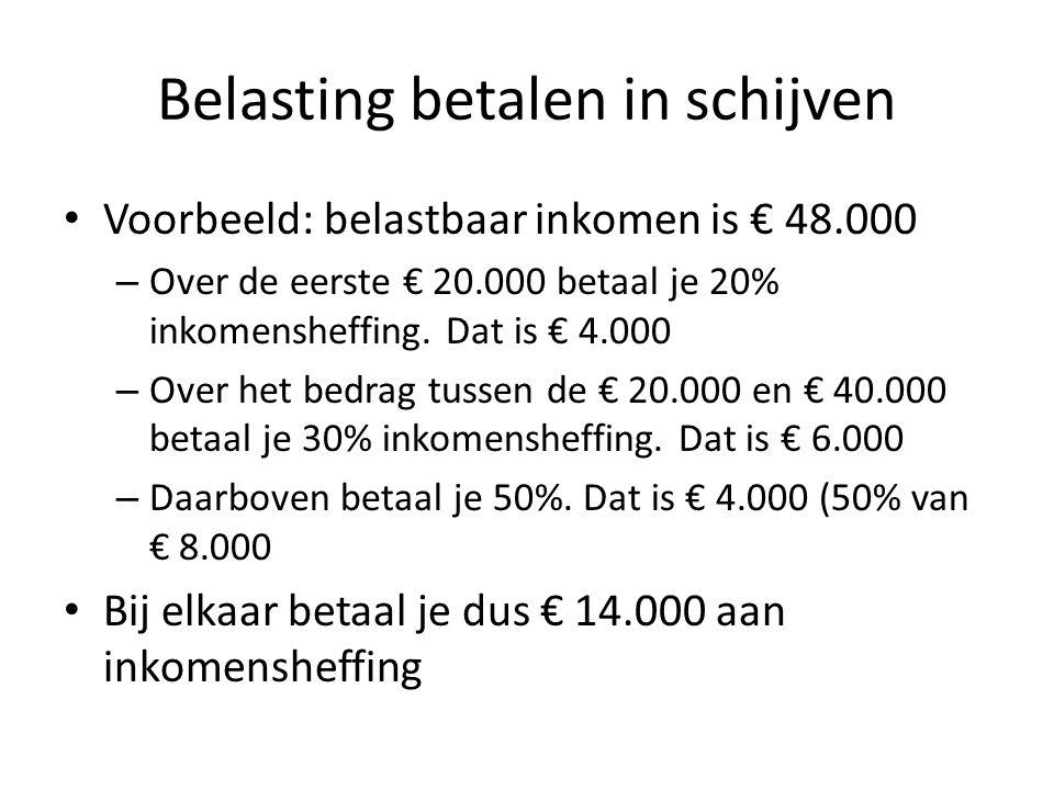 Belasting betalen in schijven Voorbeeld: belastbaar inkomen is € 48.000 – Over de eerste € 20.000 betaal je 20% inkomensheffing. Dat is € 4.000 – Over