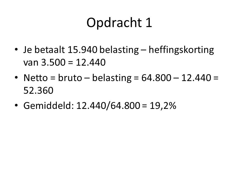 Opdracht 1 Je betaalt 15.940 belasting – heffingskorting van 3.500 = 12.440 Netto = bruto – belasting = 64.800 – 12.440 = 52.360 Gemiddeld: 12.440/64.