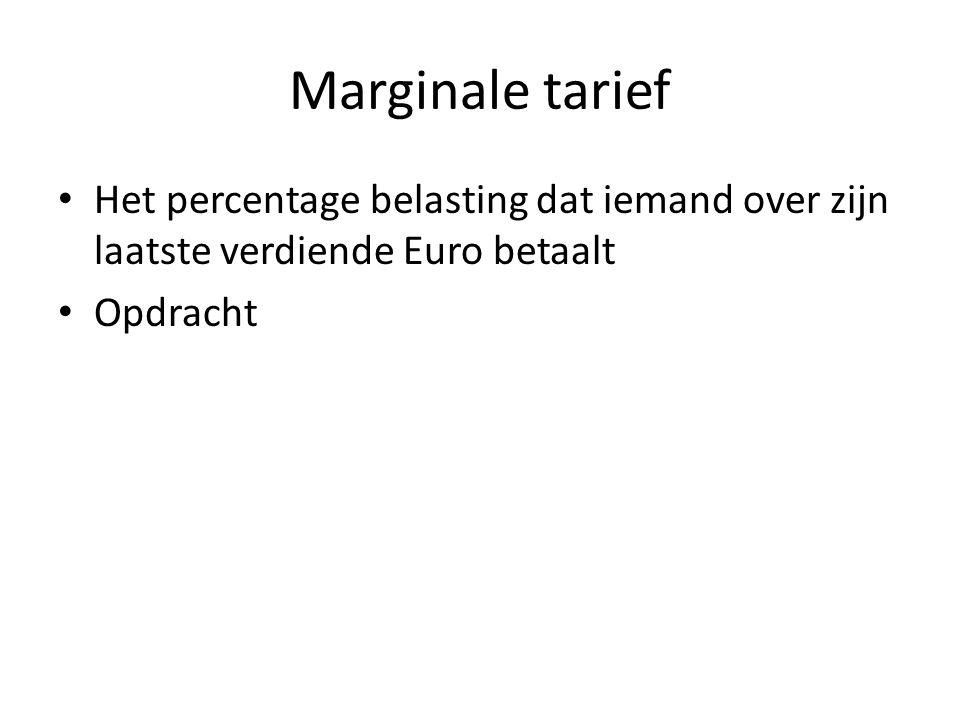 Marginale tarief Het percentage belasting dat iemand over zijn laatste verdiende Euro betaalt Opdracht