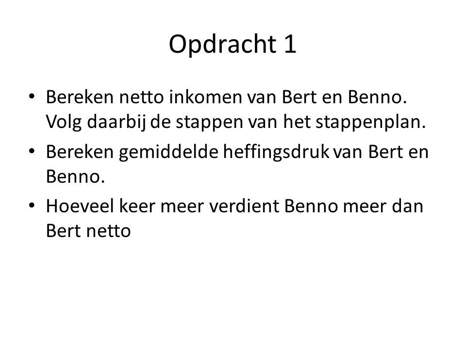Opdracht 1 Bereken netto inkomen van Bert en Benno. Volg daarbij de stappen van het stappenplan. Bereken gemiddelde heffingsdruk van Bert en Benno. Ho
