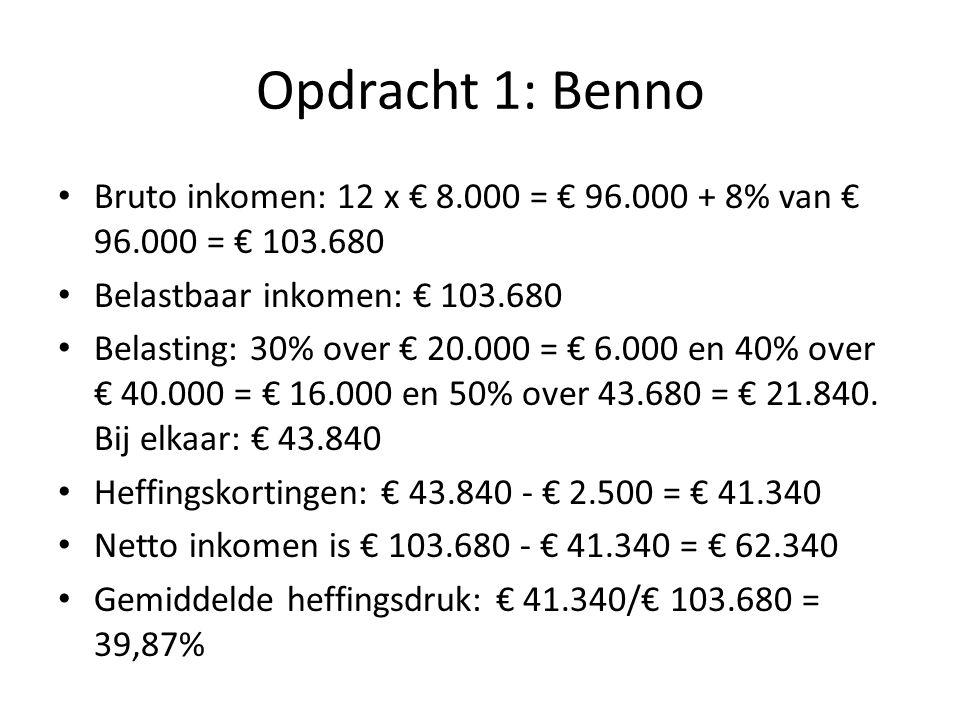 Opdracht 1: Benno Bruto inkomen: 12 x € 8.000 = € 96.000 + 8% van € 96.000 = € 103.680 Belastbaar inkomen: € 103.680 Belasting: 30% over € 20.000 = €