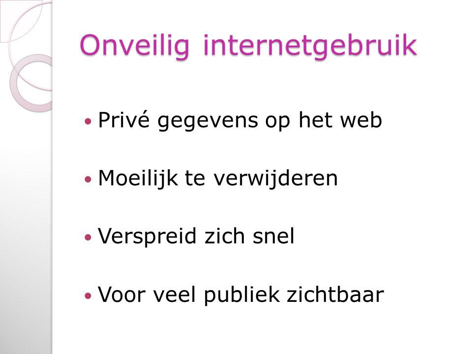 Onveilig internetgebruik Privé gegevens op het web Moeilijk te verwijderen Verspreid zich snel Voor veel publiek zichtbaar
