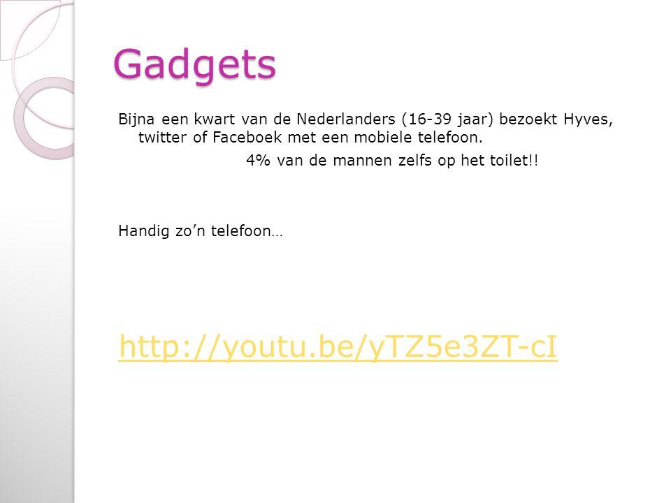 Gadgets Bijna een kwart van de Nederlanders (16-39 jaar) bezoekt Hyves, twitter of Faceboek met een mobiele telefoon. 4% van de mannen zelfs op het to