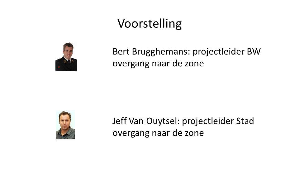 Voorstelling Bert Brugghemans: projectleider BW overgang naar de zone Jeff Van Ouytsel: projectleider Stad overgang naar de zone