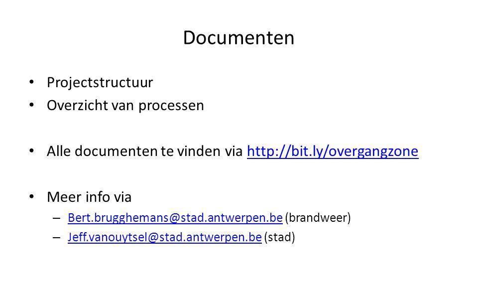 Documenten Projectstructuur Overzicht van processen Alle documenten te vinden via http://bit.ly/overgangzonehttp://bit.ly/overgangzone Meer info via –
