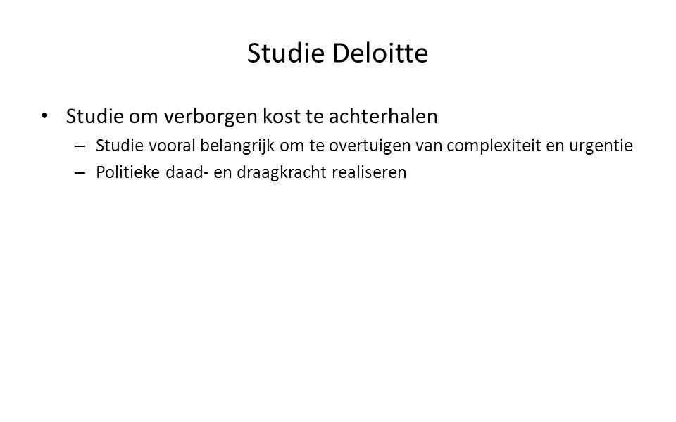 Studie Deloitte Studie om verborgen kost te achterhalen – Studie vooral belangrijk om te overtuigen van complexiteit en urgentie – Politieke daad- en