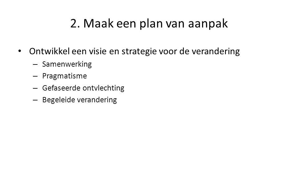 2. Maak een plan van aanpak Ontwikkel een visie en strategie voor de verandering – Samenwerking – Pragmatisme – Gefaseerde ontvlechting – Begeleide ve
