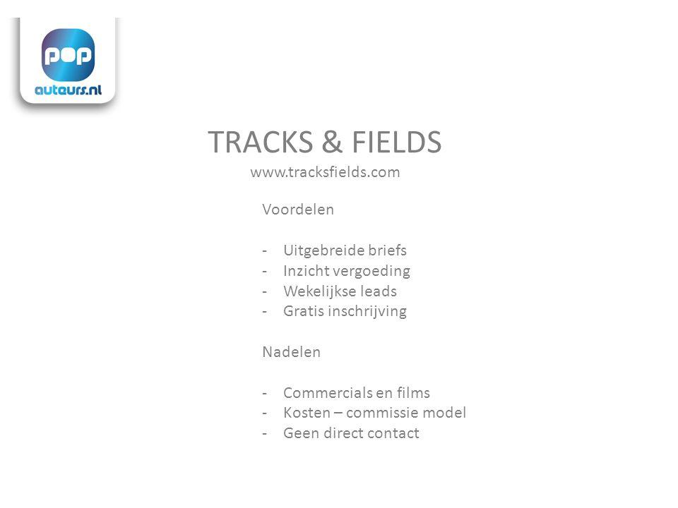 TRACKS & FIELDS www.tracksfields.com Voordelen -Uitgebreide briefs -Inzicht vergoeding -Wekelijkse leads -Gratis inschrijving Nadelen -Commercials en films -Kosten – commissie model -Geen direct contact