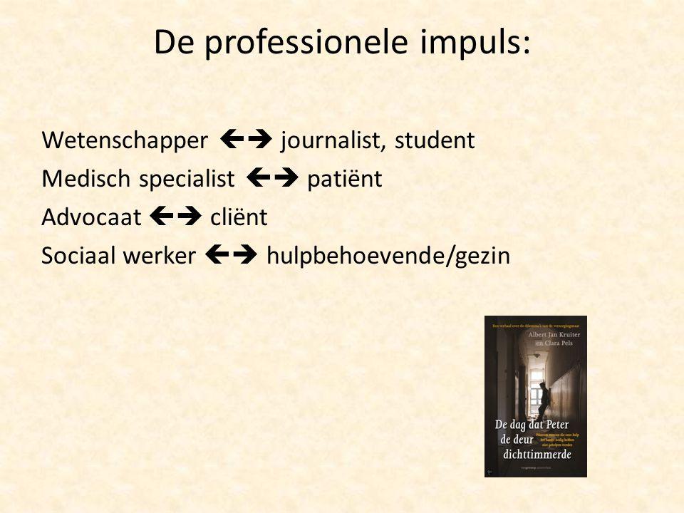De professionele impuls: Wetenschapper  journalist, student Medisch specialist  patiënt Advocaat  cliënt Sociaal werker  hulpbehoevende/gezin
