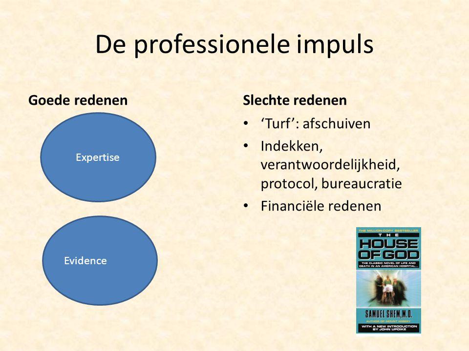 De professionele impuls Goede redenenSlechte redenen 'Turf': afschuiven Indekken, verantwoordelijkheid, protocol, bureaucratie Financiële redenen Expertise Evidence