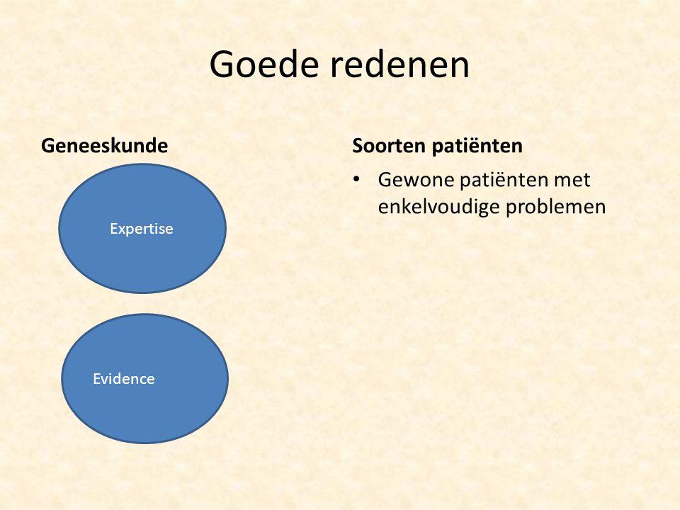 Goede redenen GeneeskundeSoorten patiënten Gewone patiënten met enkelvoudige problemen Evidence Expertise