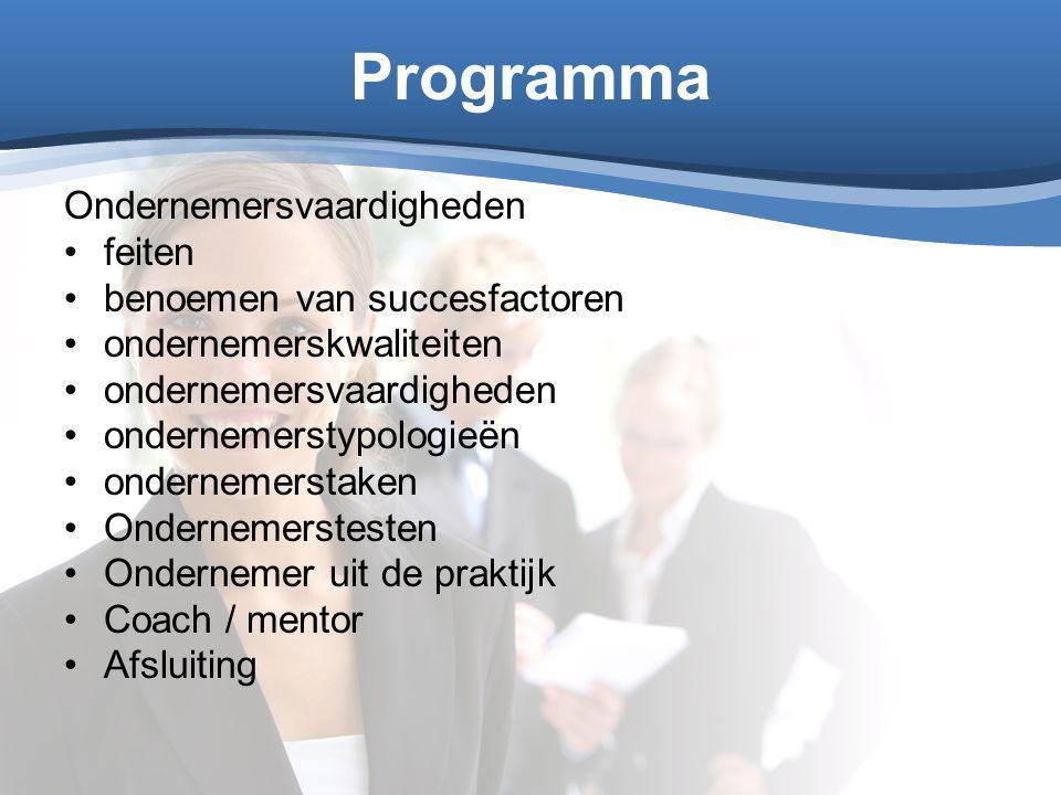 Programma Ondernemersvaardigheden feiten benoemen van succesfactoren ondernemerskwaliteiten ondernemersvaardigheden ondernemerstypologieën ondernemers