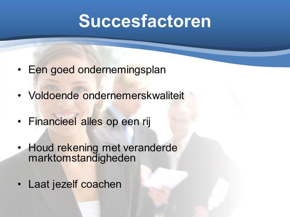 Succesfactoren Een goed ondernemingsplan Voldoende ondernemerskwaliteit Financieel alles op een rij Houd rekening met veranderde marktomstandigheden L
