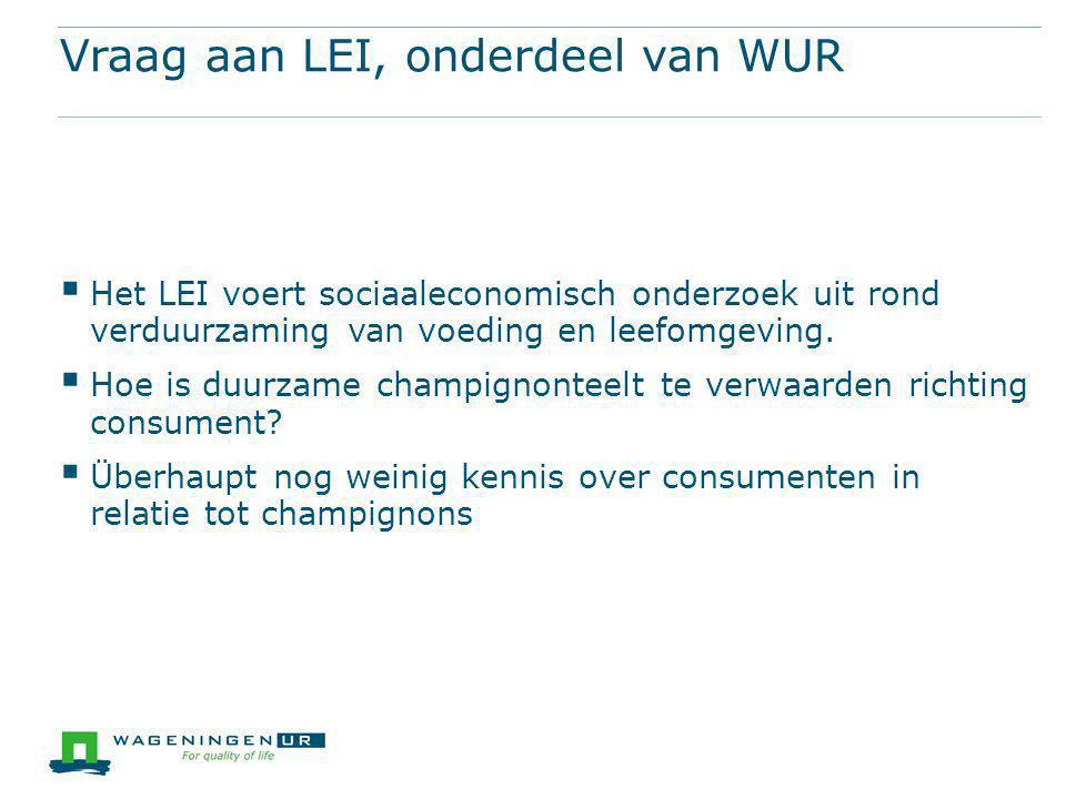 Vraag aan LEI, onderdeel van WUR  Het LEI voert sociaaleconomisch onderzoek uit rond verduurzaming van voeding en leefomgeving.