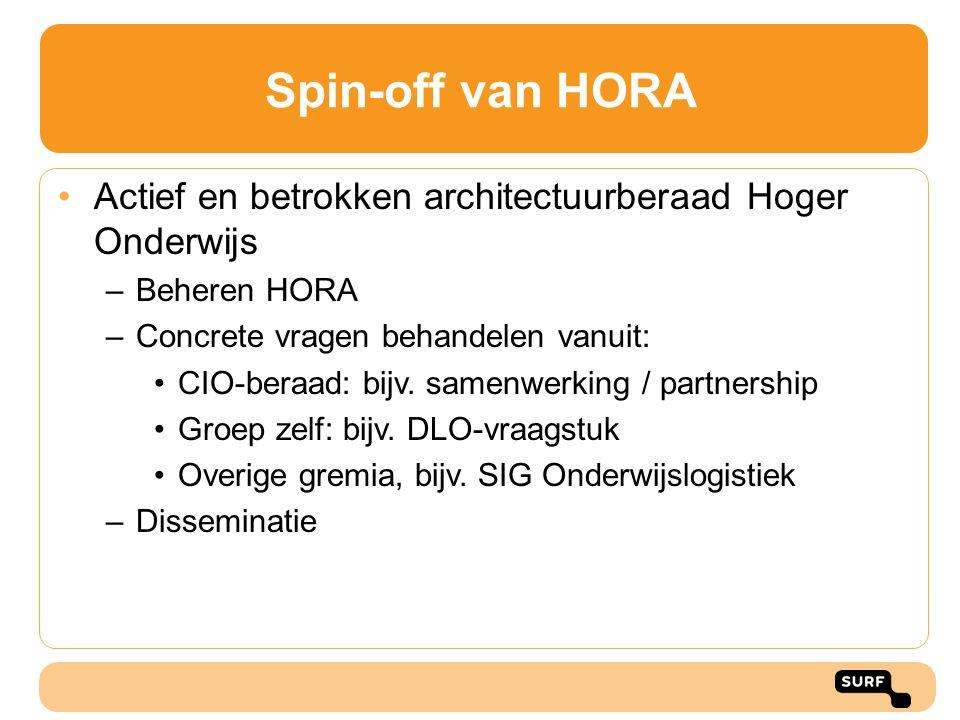 Spin-off van HORA Actief en betrokken architectuurberaad Hoger Onderwijs –Beheren HORA –Concrete vragen behandelen vanuit: CIO-beraad: bijv. samenwerk