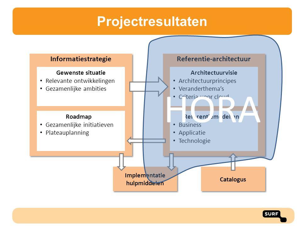 Toepassingsmogelijkheden HORA Algemene toepassingen architectuur: Het geven van inzicht in verbetermogelijkheden Het geven van inzicht in de relevante aspecten en complexiteit van een verandergebied Het geven van inzicht in de scope van projecten en de relaties met andere projecten Het geven van inzicht in koppelvlakken en mogelijke samenwerking binnen een instelling Het faciliteren van discussie en besluitvorming over eigenaarschap Specifieke toepassingen HORA: Het vergelijken van de inrichting van verschillende instellingen Het geven van inzicht in mogelijkheden voor samenwerking Het versnellen van het opstellen van een instellingsarchitectuur Eenduidiger communicatie naar leveranciers - Consortium
