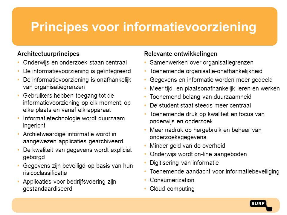 Principes voor informatievoorziening Architectuurprincipes Onderwijs en onderzoek staan centraal De informatievoorziening is geïntegreerd De informati