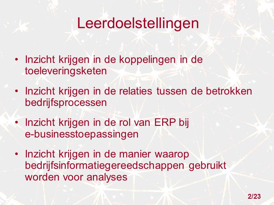 2/23 Leerdoelstellingen Inzicht krijgen in de koppelingen in de toeleveringsketen Inzicht krijgen in de relaties tussen de betrokken bedrijfsprocessen Inzicht krijgen in de rol van ERP bij e-businesstoepassingen Inzicht krijgen in de manier waarop bedrijfsinformatiegereedschappen gebruikt worden voor analyses