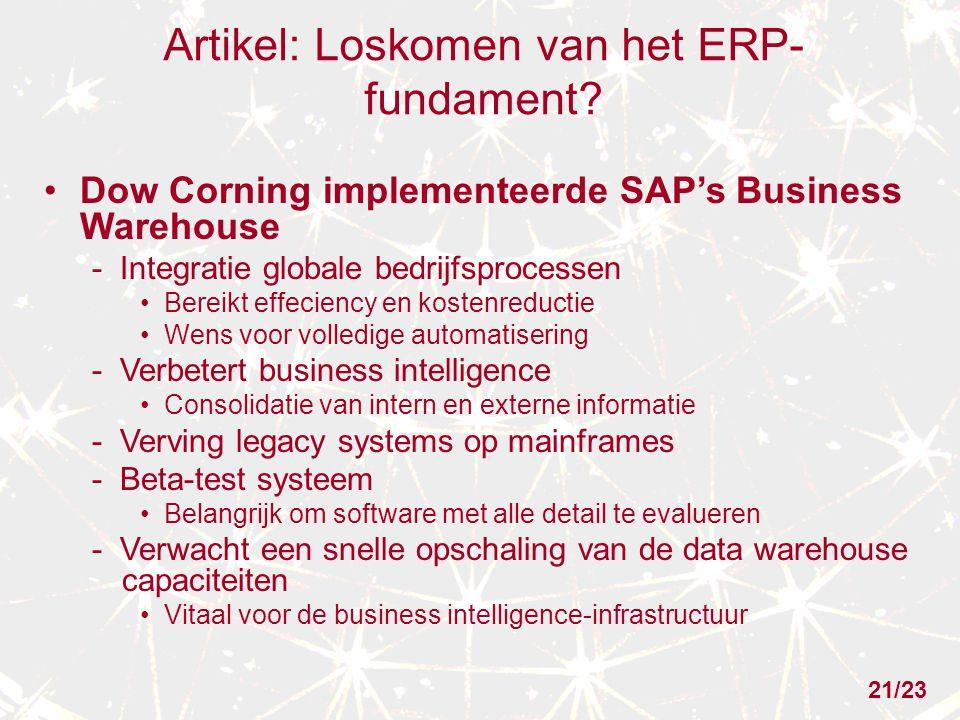 Artikel: Loskomen van het ERP- fundament.