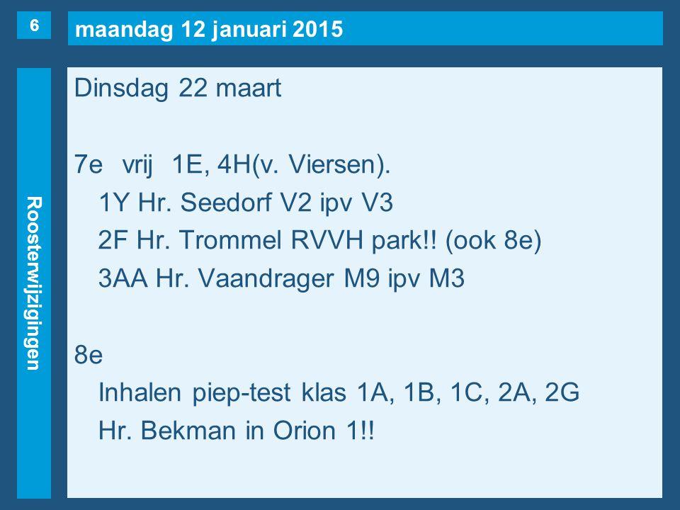 maandag 12 januari 2015 Roosterwijzigingen Woensdag 23 maart 1evrij1Y, 2F, 2S(naar 4e), 2T, 6A(v.