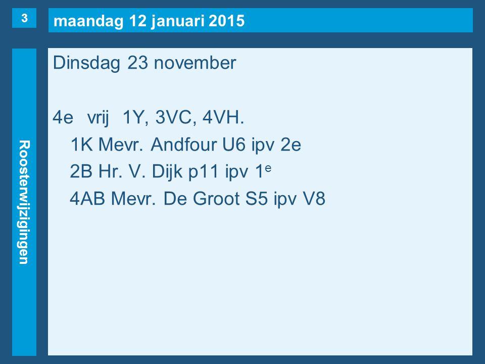 maandag 12 januari 2015 Roosterwijzigingen Dinsdag 23 november 4evrij1Y, 3VC, 4VH.