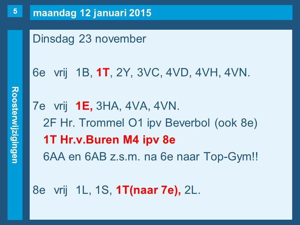 maandag 12 januari 2015 Roosterwijzigingen Dinsdag 23 november 6evrij1B, 1T, 2Y, 3VC, 4VD, 4VH, 4VN.