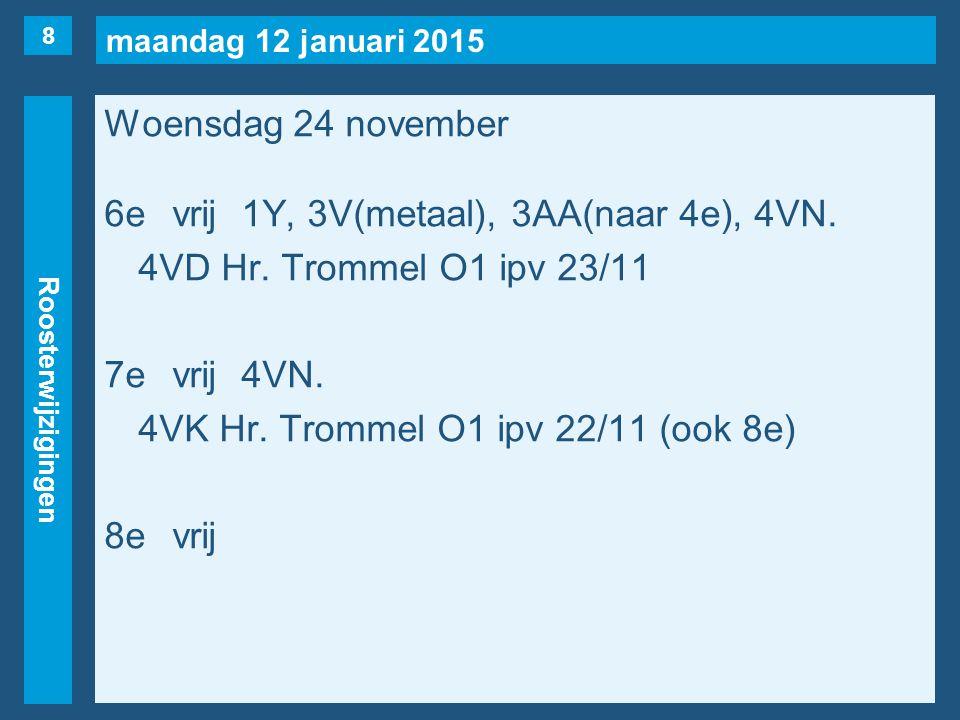 maandag 12 januari 2015 Roosterwijzigingen Woensdag 24 november 6evrij1Y, 3V(metaal), 3AA(naar 4e), 4VN.