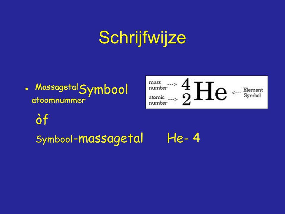 Schrijfwijze Massagetal Symbool atoomnummer òf Symbool -massagetalHe- 4