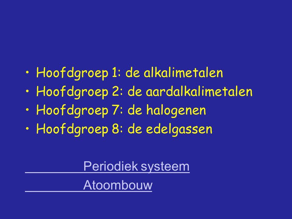 Hoofdgroep 1: de alkalimetalen Hoofdgroep 2: de aardalkalimetalen Hoofdgroep 7: de halogenen Hoofdgroep 8: de edelgassen Periodiek systeem Atoombouw