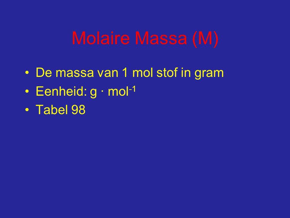 Molaire Massa (M) De massa van 1 mol stof in gram Eenheid: g ∙ mol -1 Tabel 98