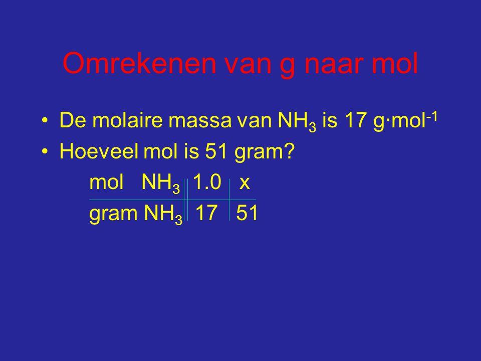 Omrekenen van g naar mol De molaire massa van NH 3 is 17 g∙mol -1 Hoeveel mol is 51 gram.