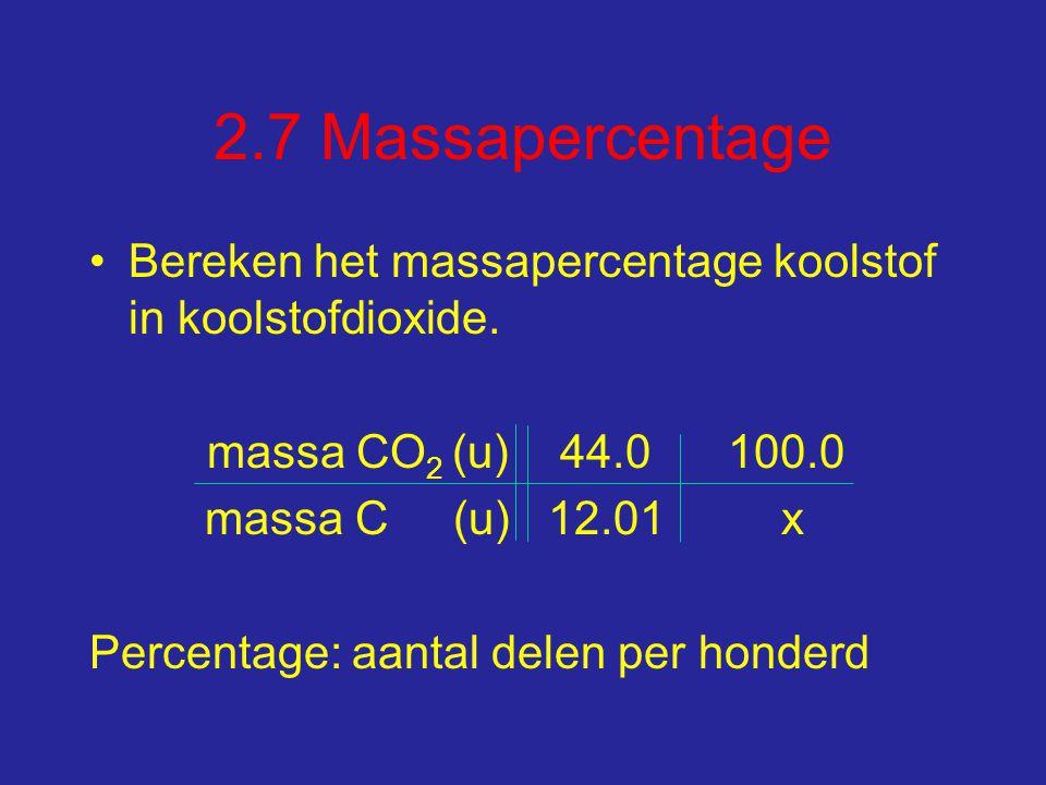2.7 Massapercentage Bereken het massapercentage koolstof in koolstofdioxide.