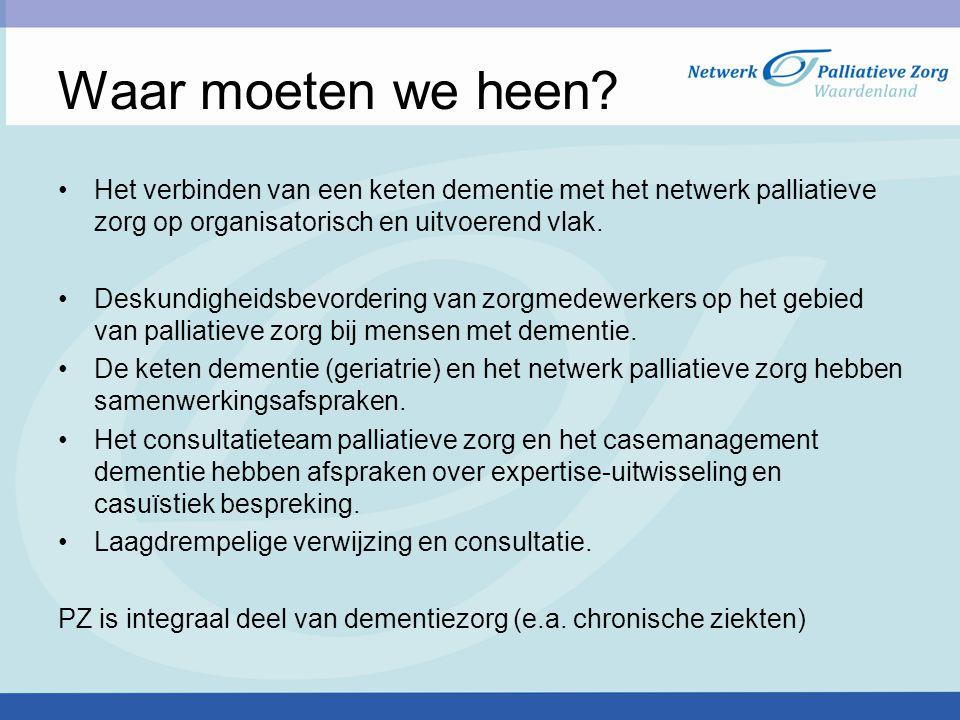 Waar moeten we heen? Het verbinden van een keten dementie met het netwerk palliatieve zorg op organisatorisch en uitvoerend vlak. Deskundigheidsbevord