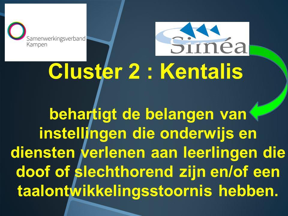 Cluster 2 : Kentalis behartigt de belangen van instellingen die onderwijs en diensten verlenen aan leerlingen die doof of slechthorend zijn en/of een taalontwikkelingsstoornis hebben.